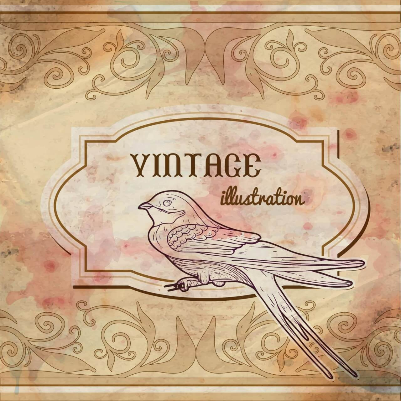 "Free vector ""Vintage watercolor frame with swallow"""
