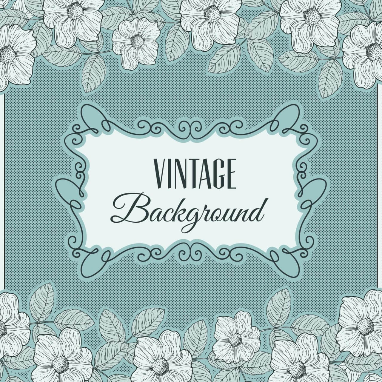 """Free vector """"Vintage flowers with frame and typography"""""""
