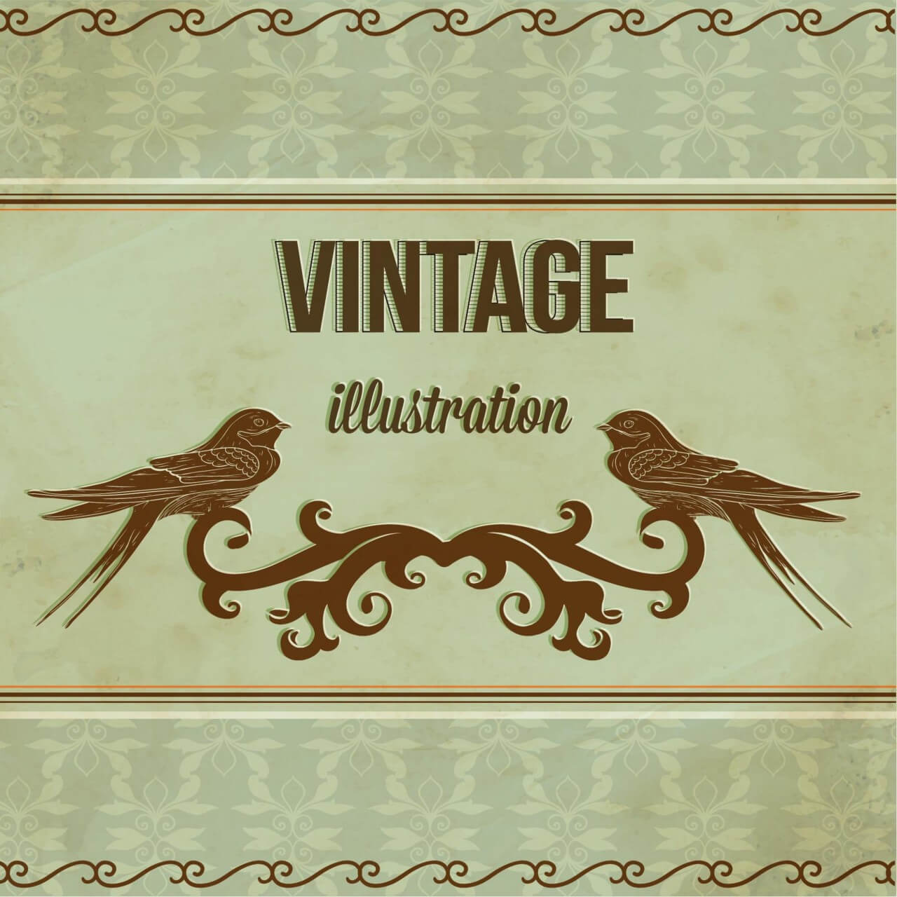 "Free vector ""Vintage illustrations with ormanent and swallow"""