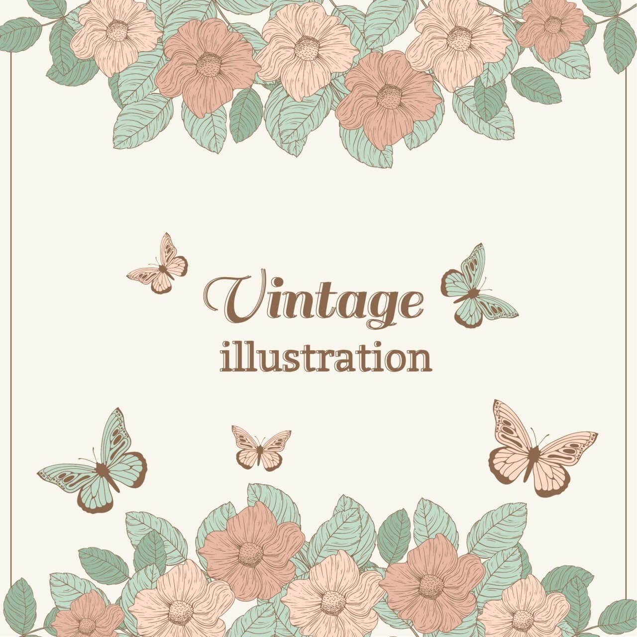 "Free vector ""Vintage flower illustration with butterfly"""