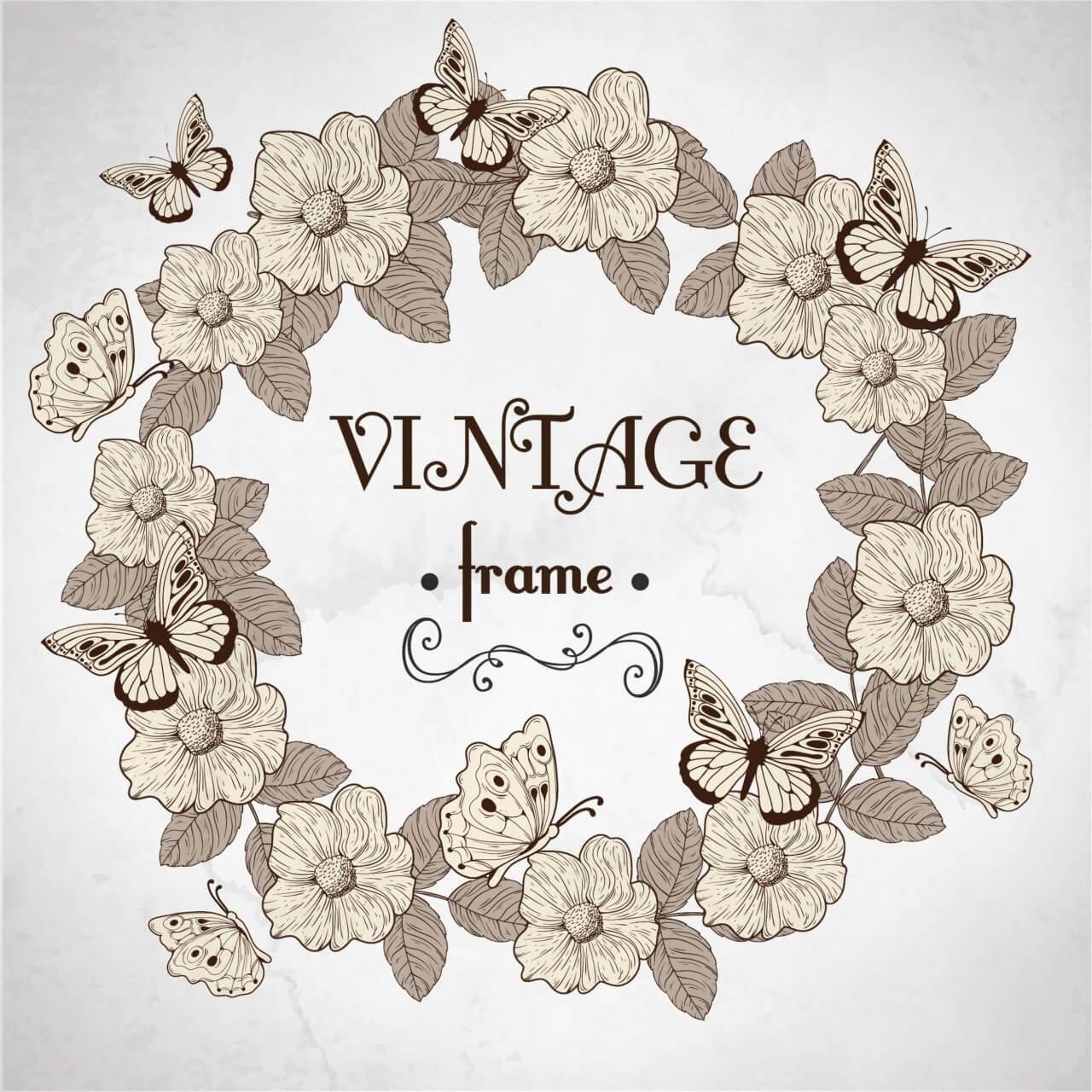 """Free vector """"Vintage floral frame"""""""
