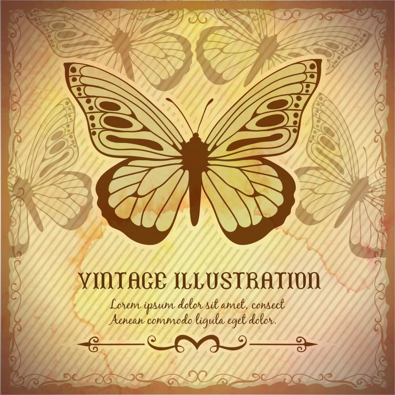 "Free vector ""Vintage background with butterfly"""