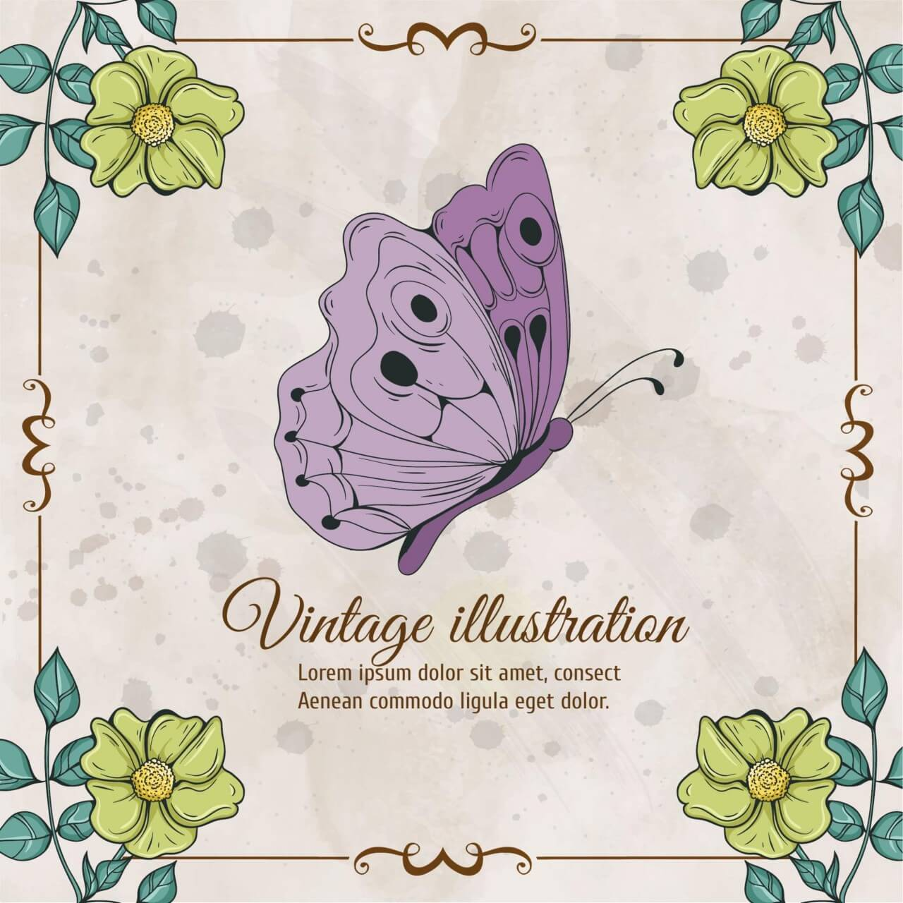 "Free vector ""Vintage frame with flowers and butterfly"""
