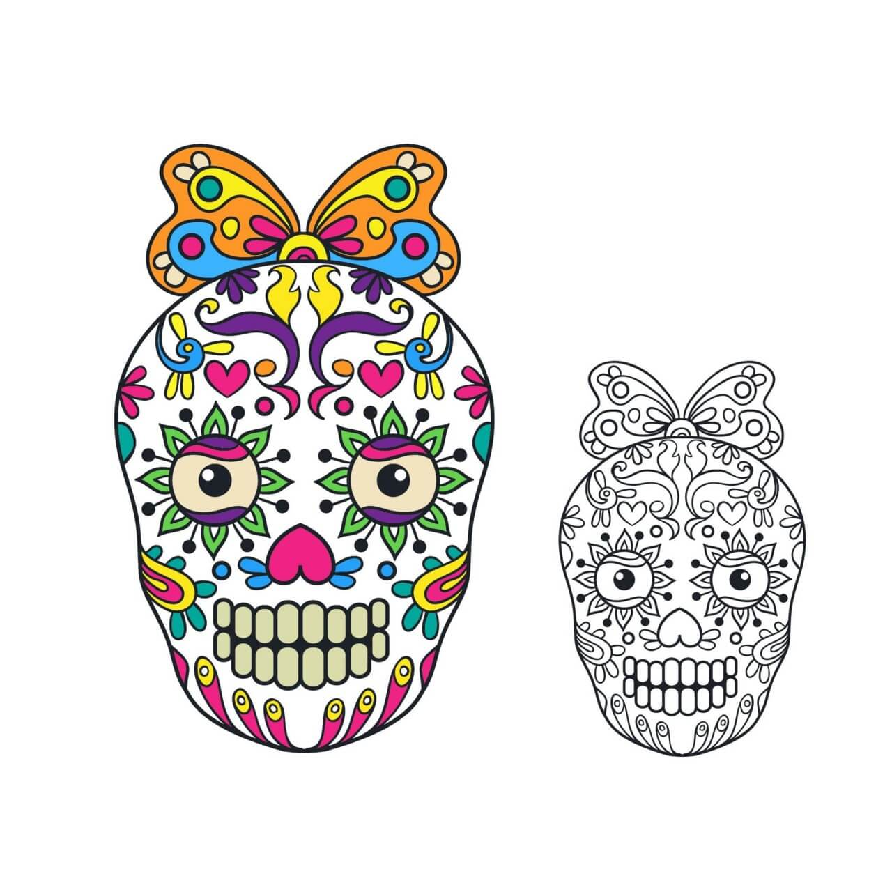 """Free vector """"Vector sugar skull illustration"""""""