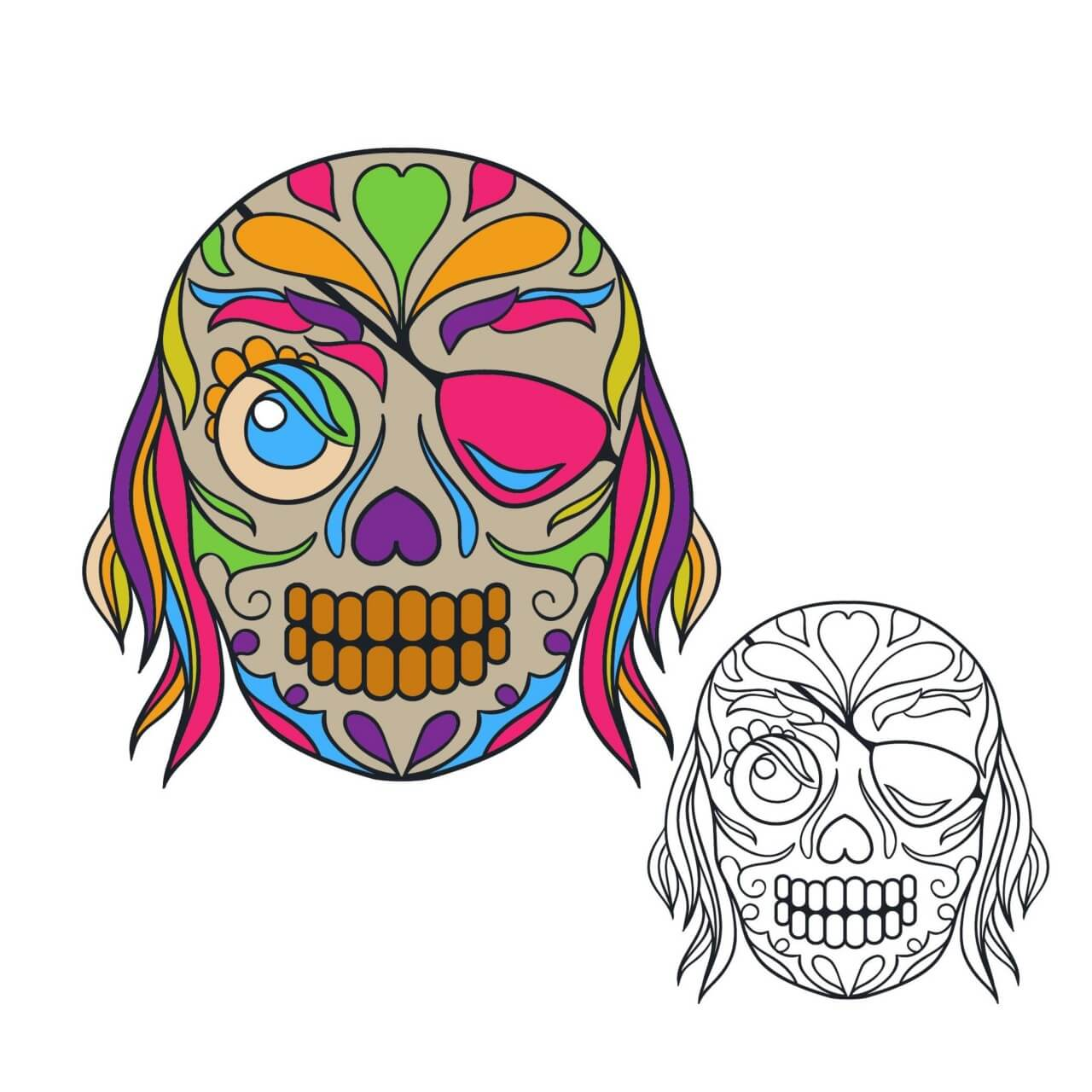 "Free vector ""Pirate sugar skull vector illustration"""