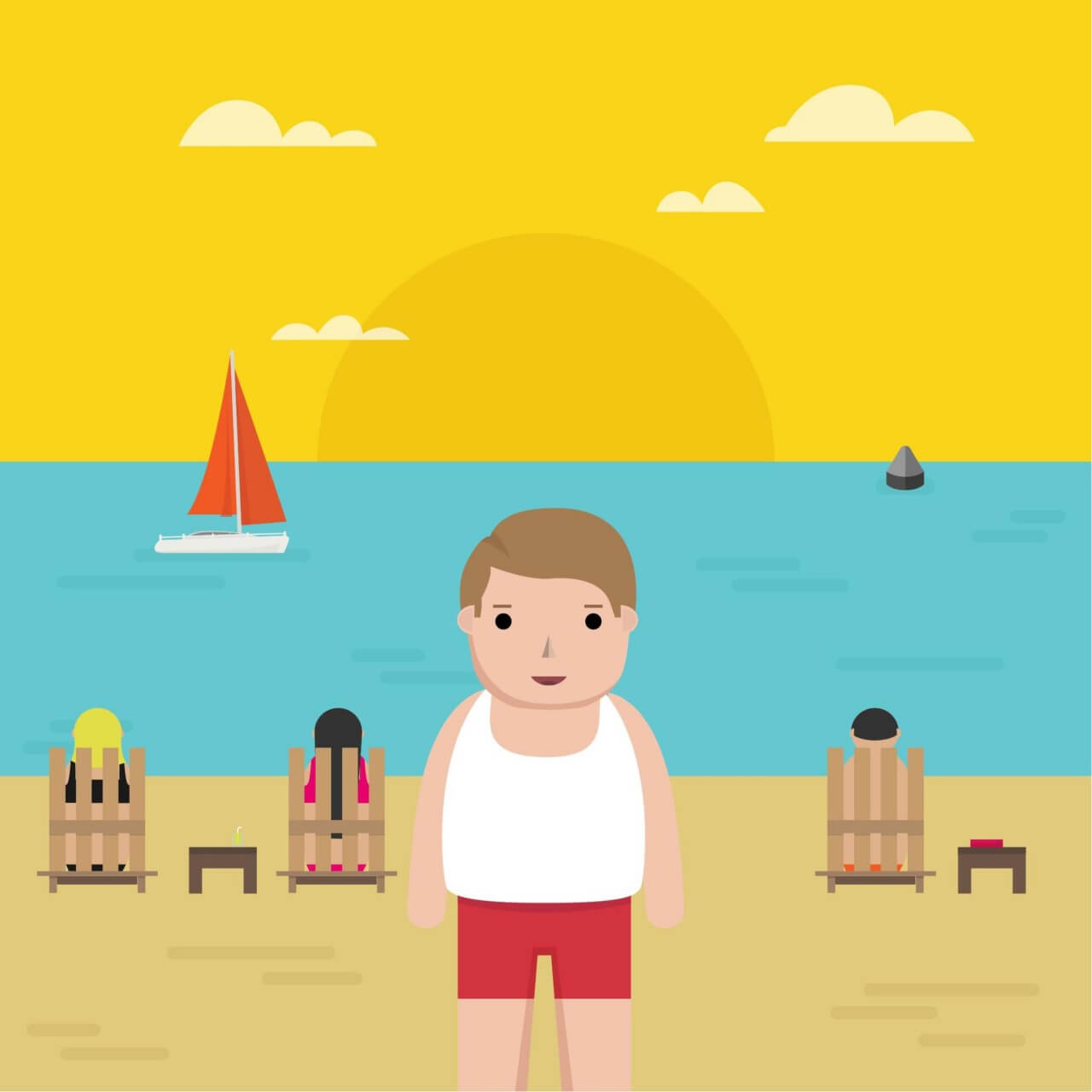 "Free vector ""Man in the Beach"""