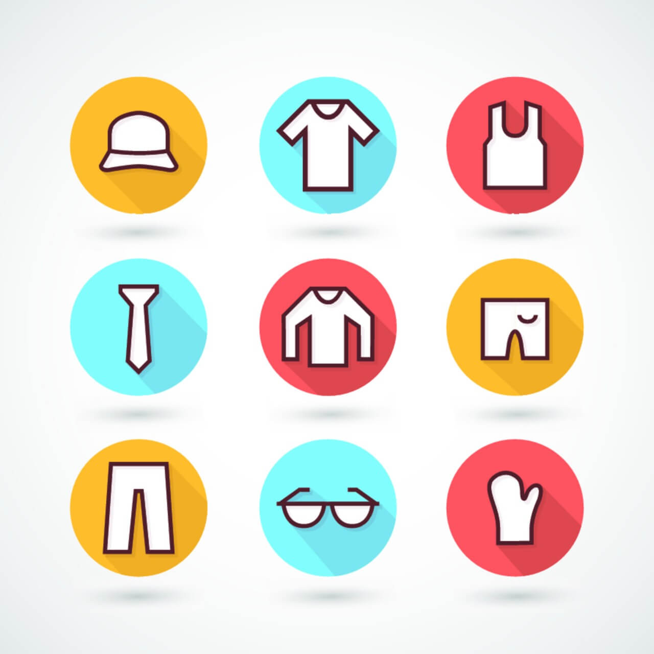 """Free vector """"Clothing icons set"""""""