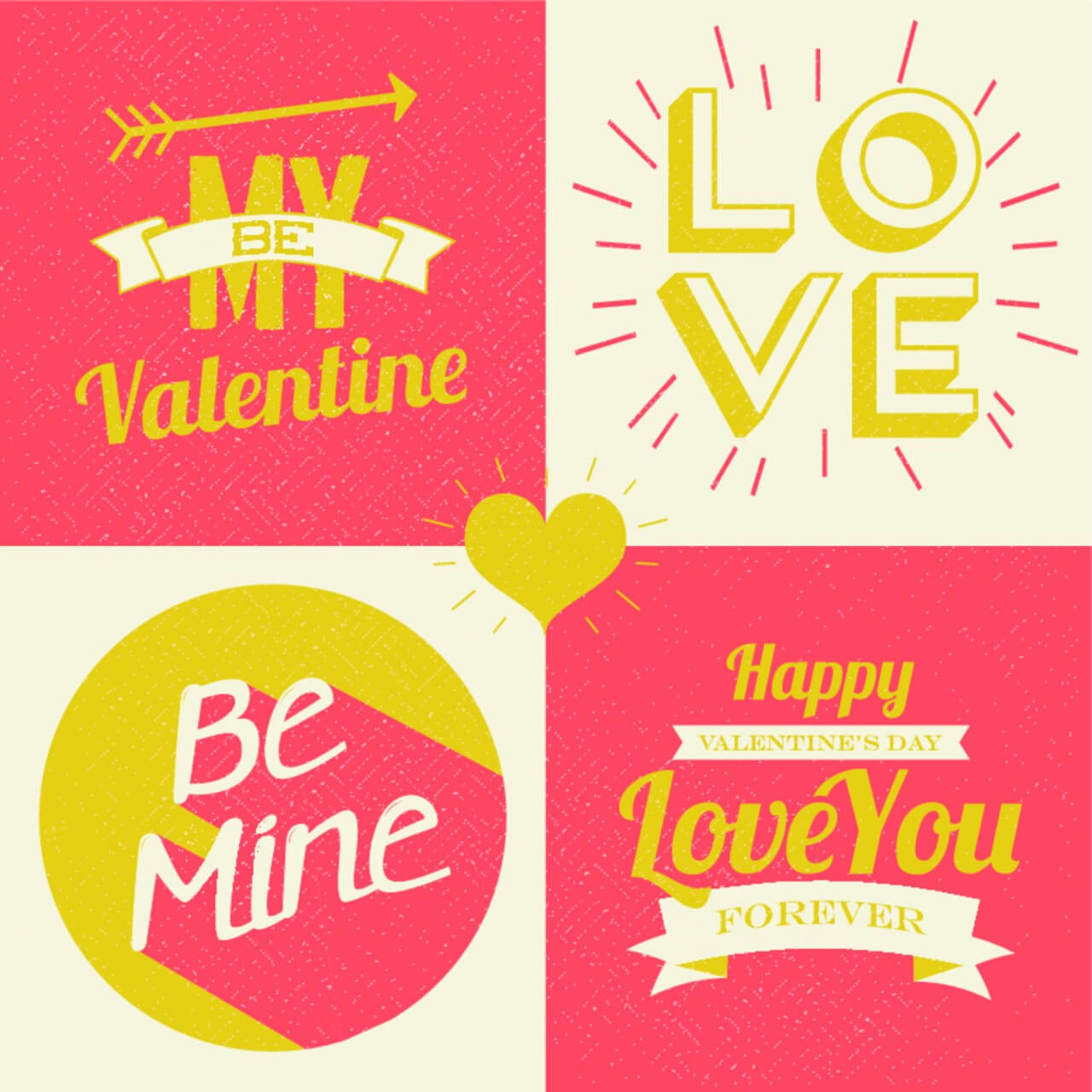 "Free vector ""Valentines day illustrations and typography elements"""