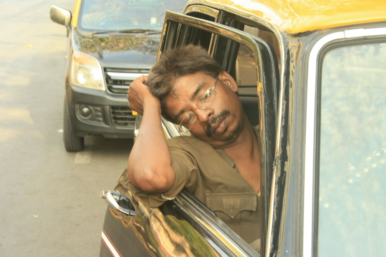 "Free photo ""Taxi Driver India Sleeping"""