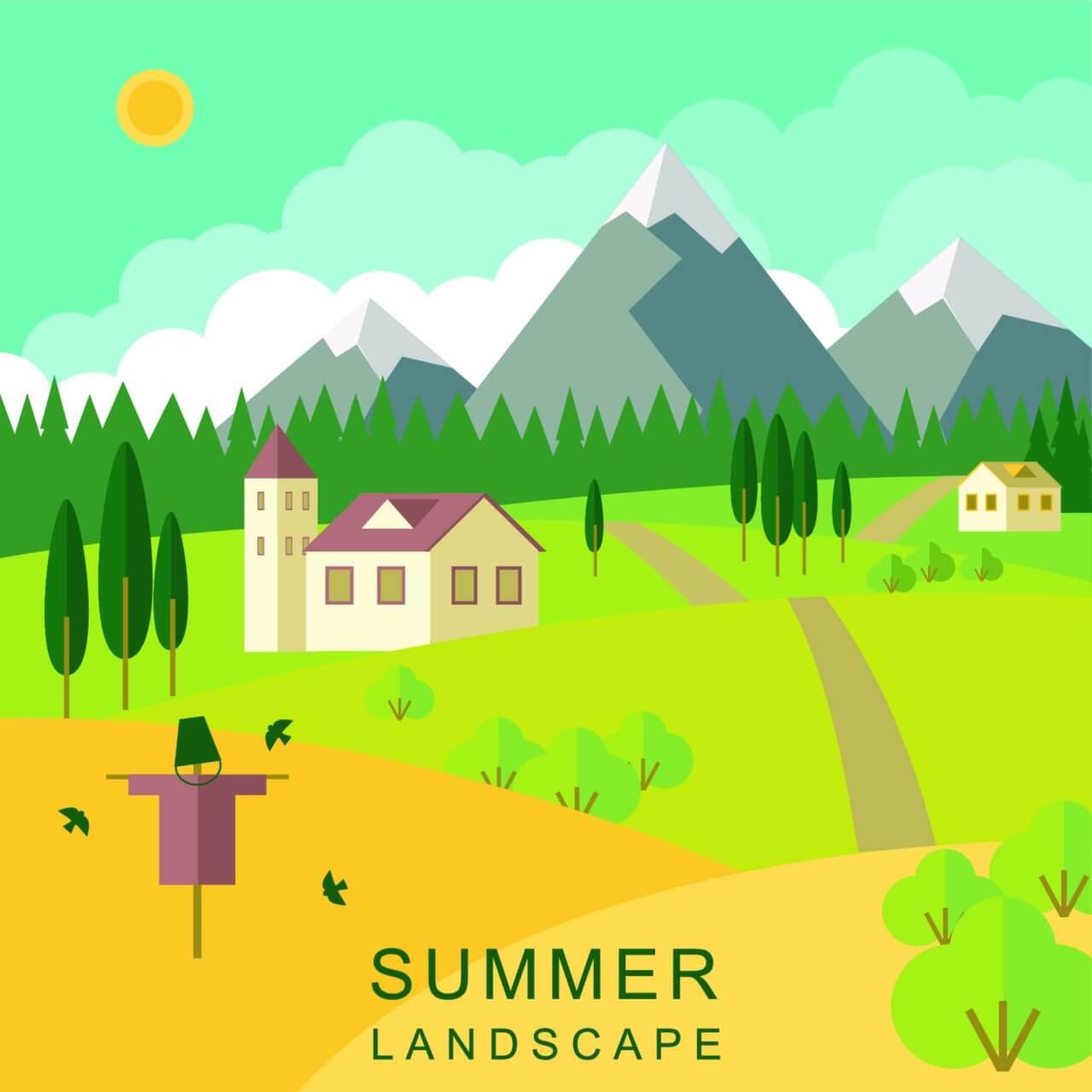 "Free vector ""Summer landscape"""