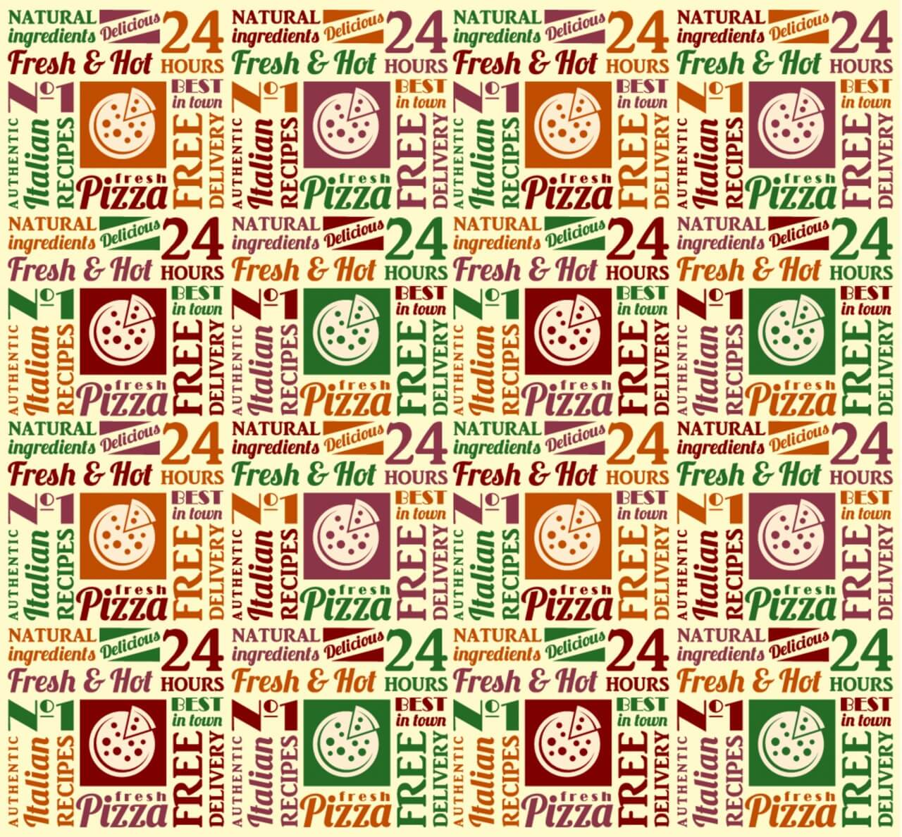 """Free vector """"Seamless pattern with pizza lettering"""""""