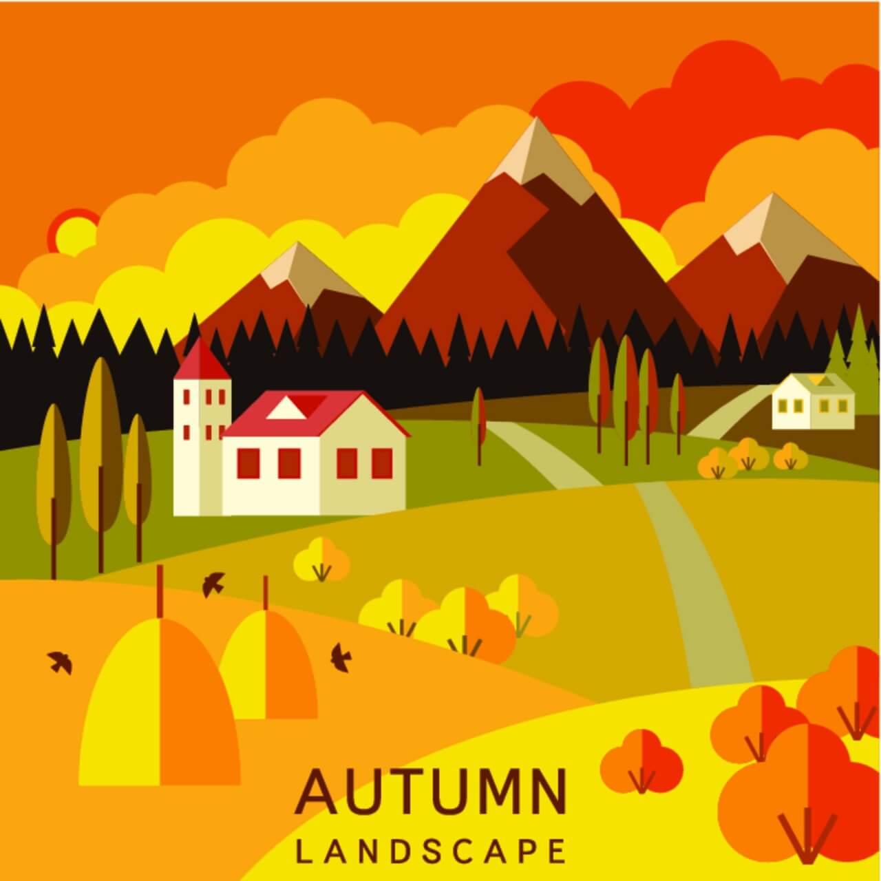 """Free vector """"Autumn landscape"""""""