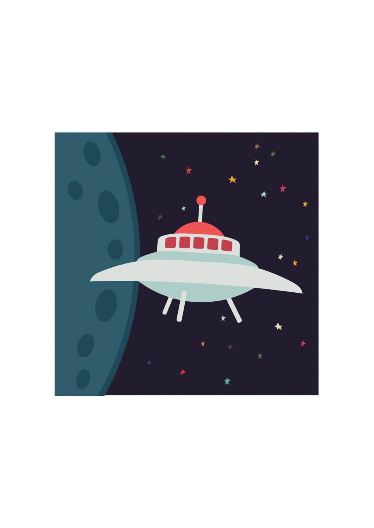 "Free vector ""UFO in cartoon style"""
