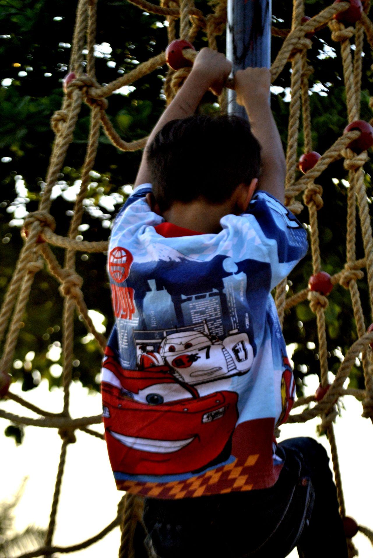 "Free photo ""Child Climbing Ropes Park"""