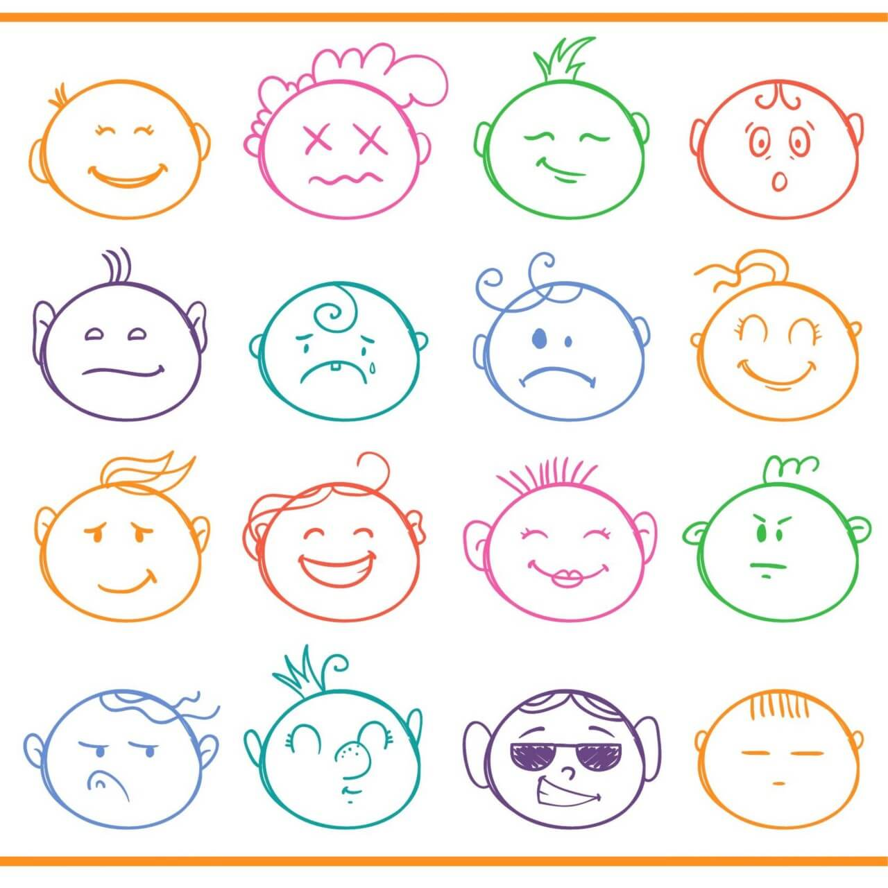 "Free vector ""Face expressions vector set """