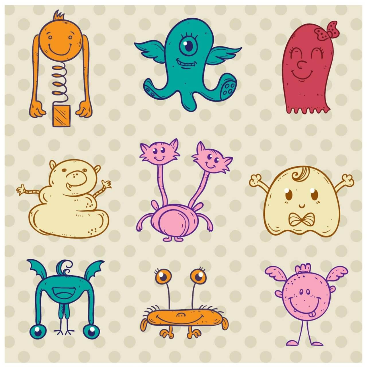 "Free vector ""Cute monster set"""
