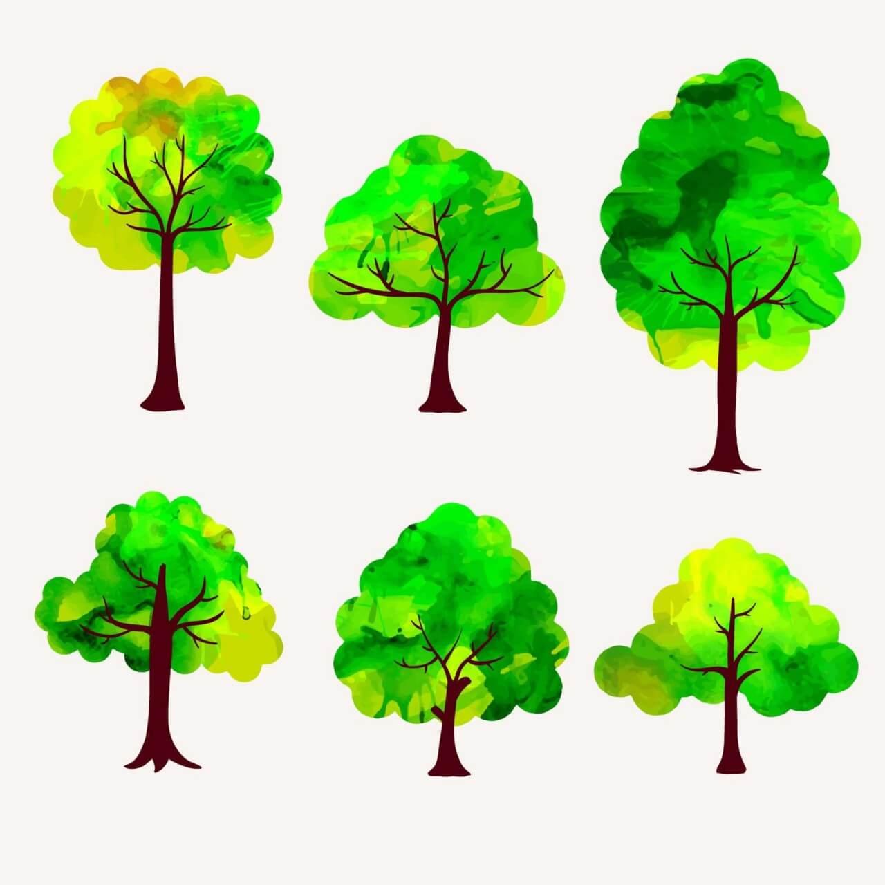 "Free vector ""Watercolor trees vector set"""