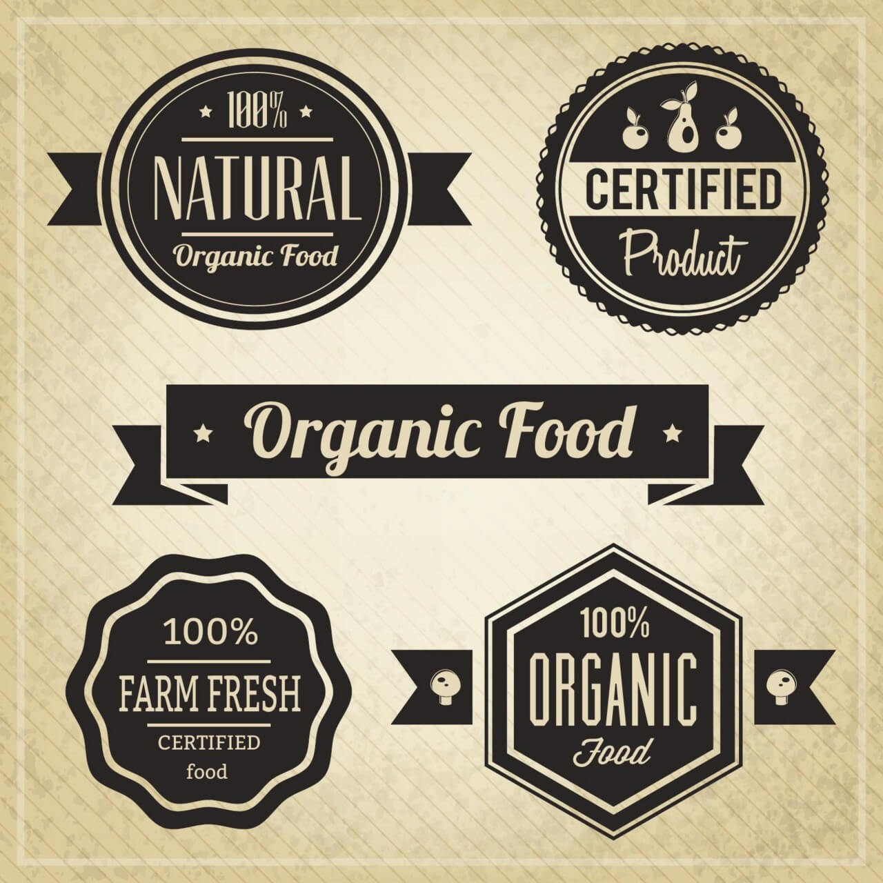 "Free vector ""Organic Food, Vintage Labels"""
