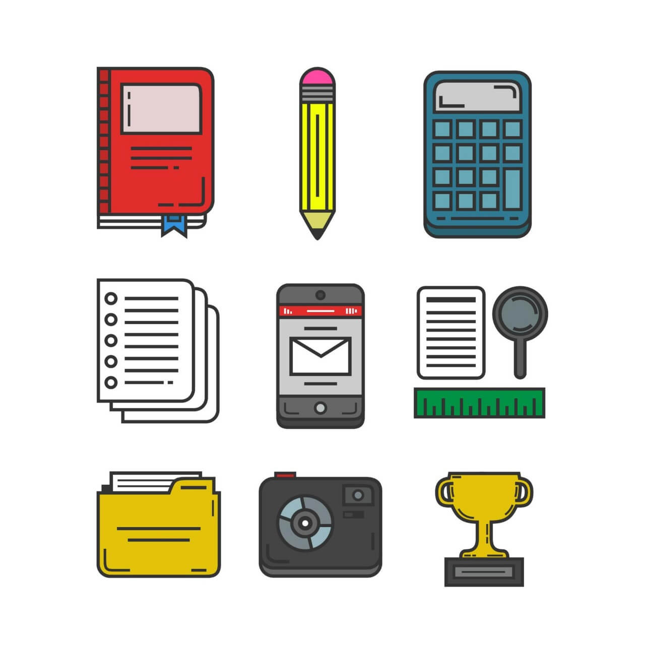 """Free vector """"Education and Research Icon Pack"""""""