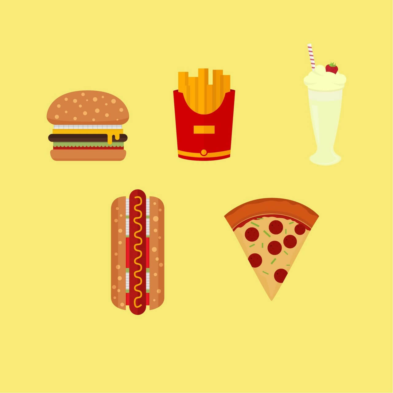 "Free vector ""American Fast Food Icons"""