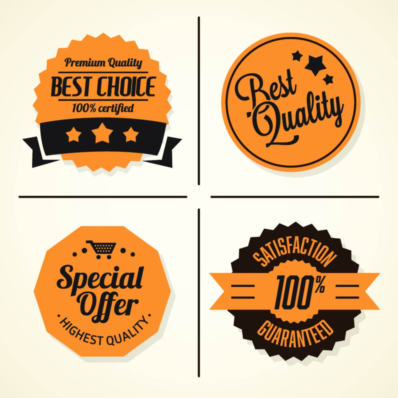 """Free vector """"Set of retro vintage badges and labels"""""""