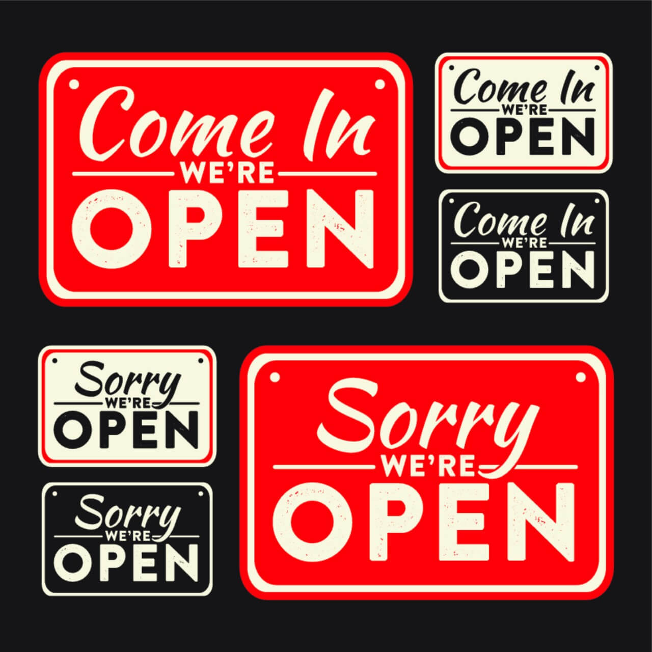 "Free vector ""Vector open and closed signs"""
