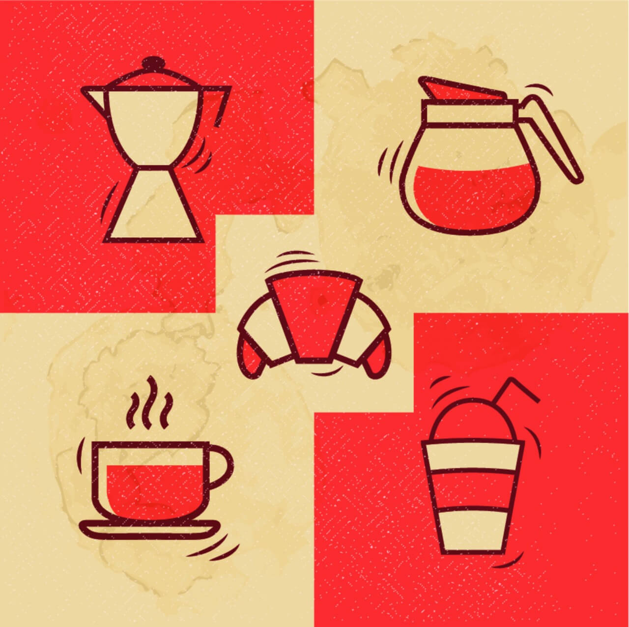 "Free vector ""Vintage Coffee icons with Grunge Effect"""