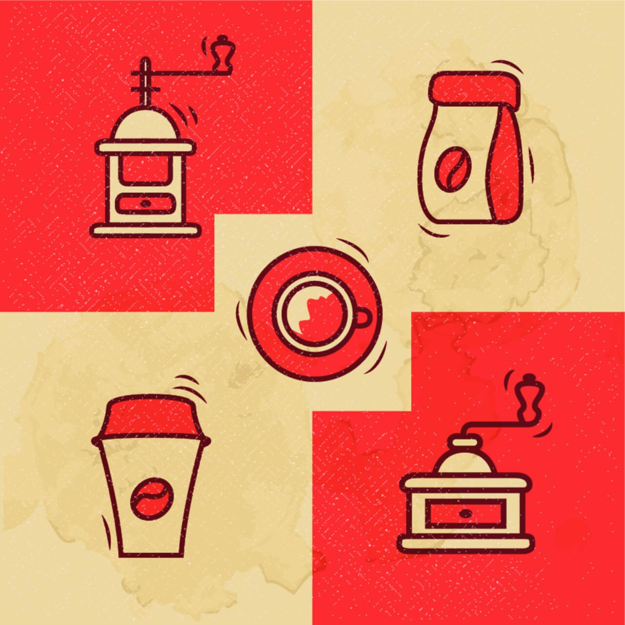 """Free vector """"Vintage Coffee icons with Grunge Effect"""""""