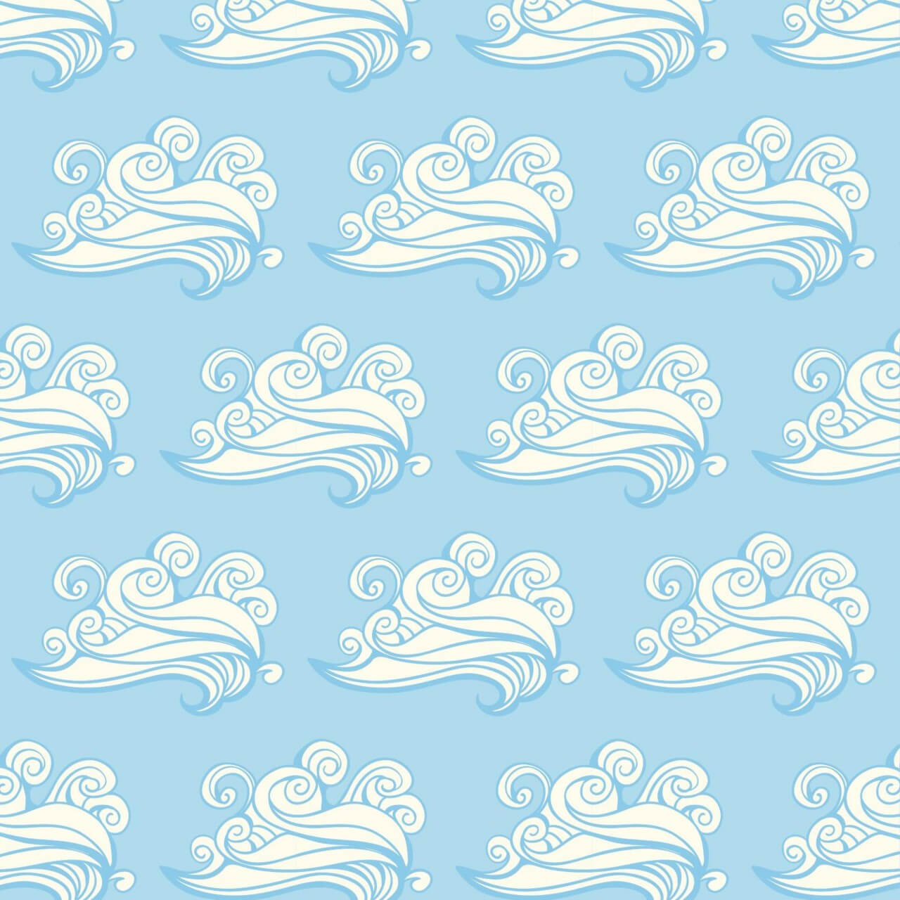 "Free vector ""Japanese patters with clouds"""