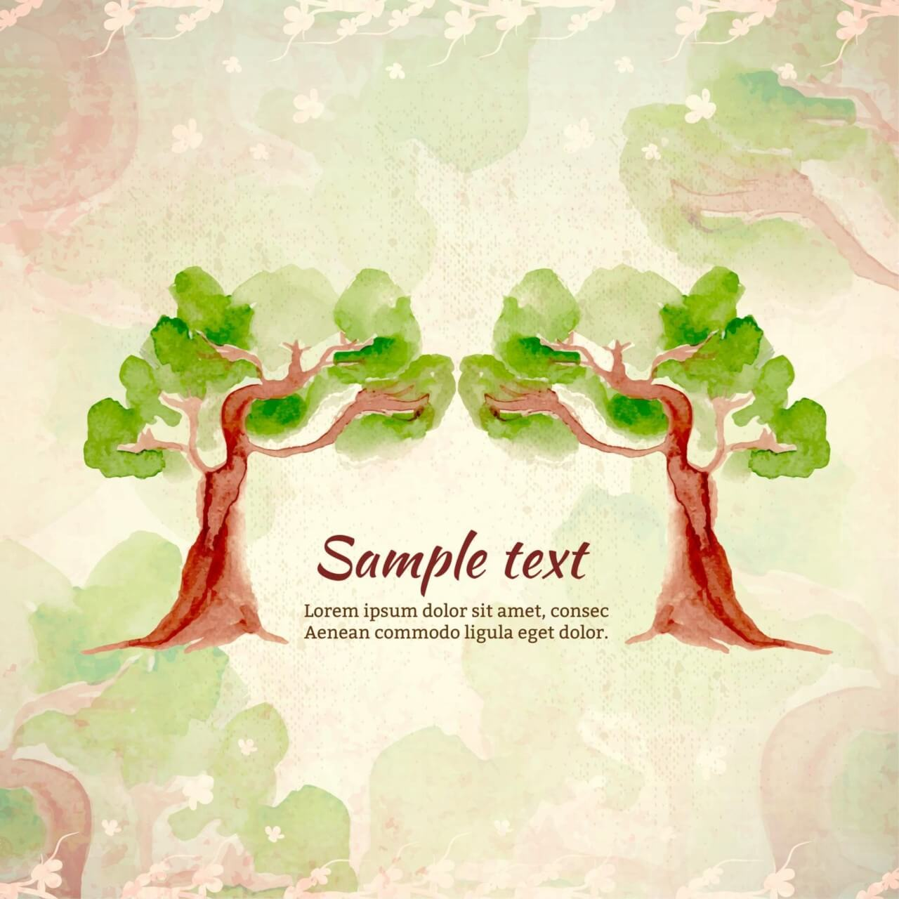 "Free vector ""Watercolor illustration with trees"""