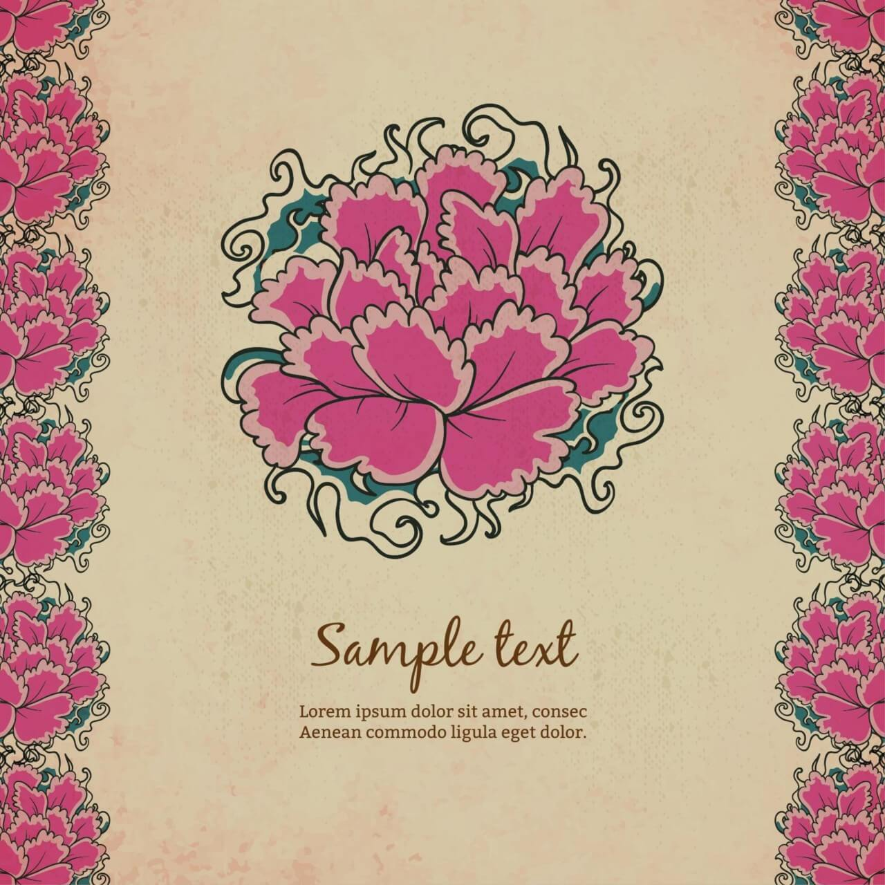 "Free vector ""Vintage illustration with flowers"""