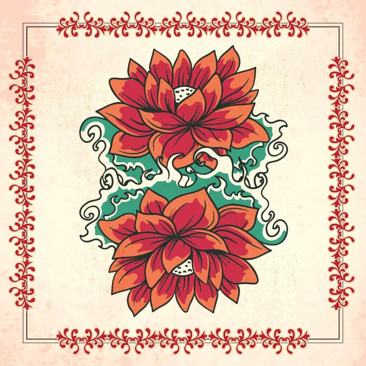 "Free vector ""Vintage illustration with flowers and frame"""