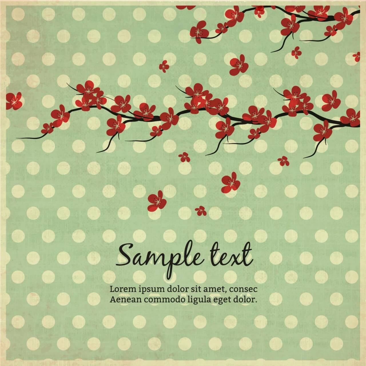 """Free vector """"Vintage illustration with flowers"""""""