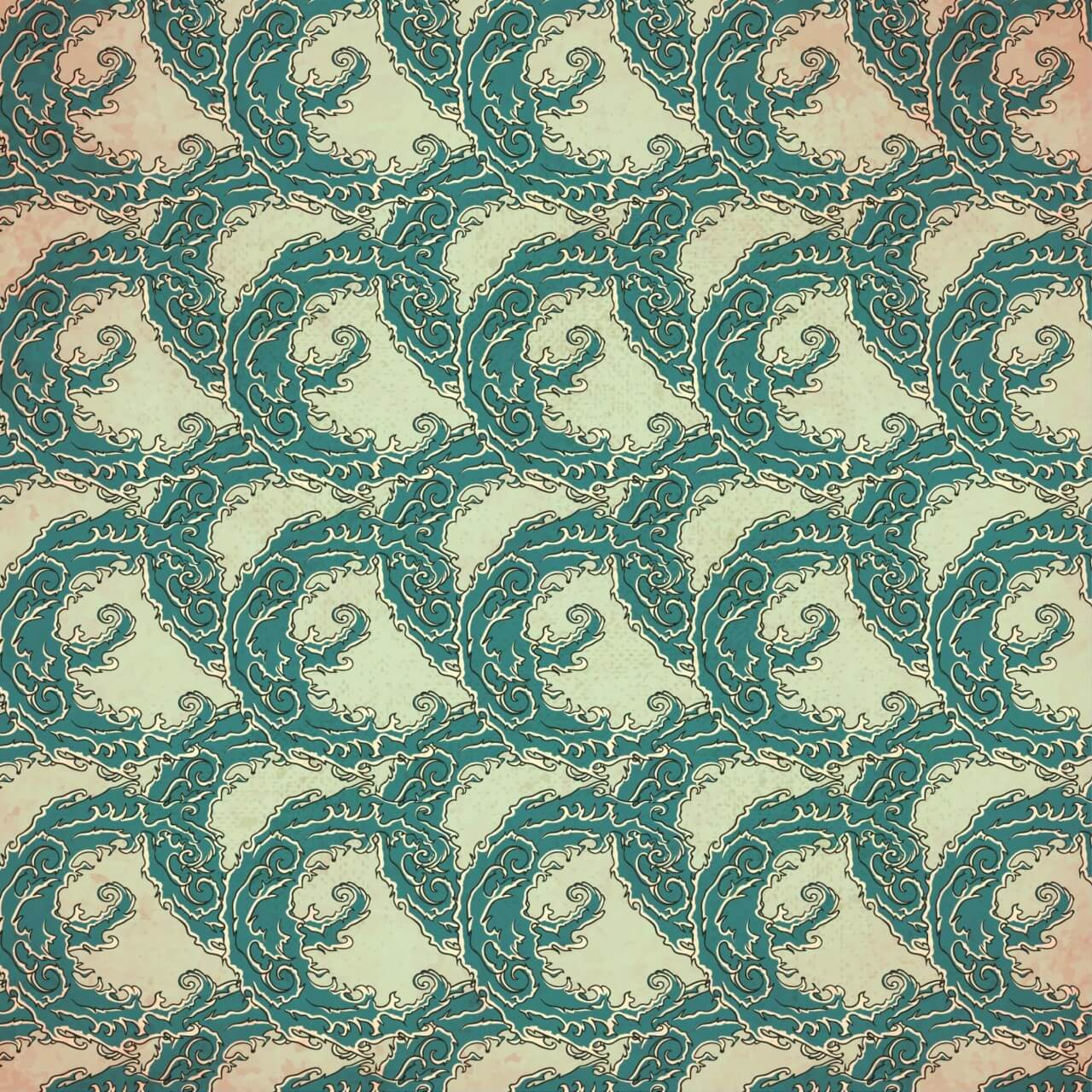 "Free vector ""Vintage japanese pattern with waves"""