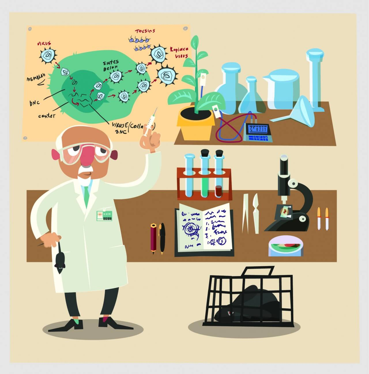 "Free vector ""Chemical character and tubes illustration vector"""