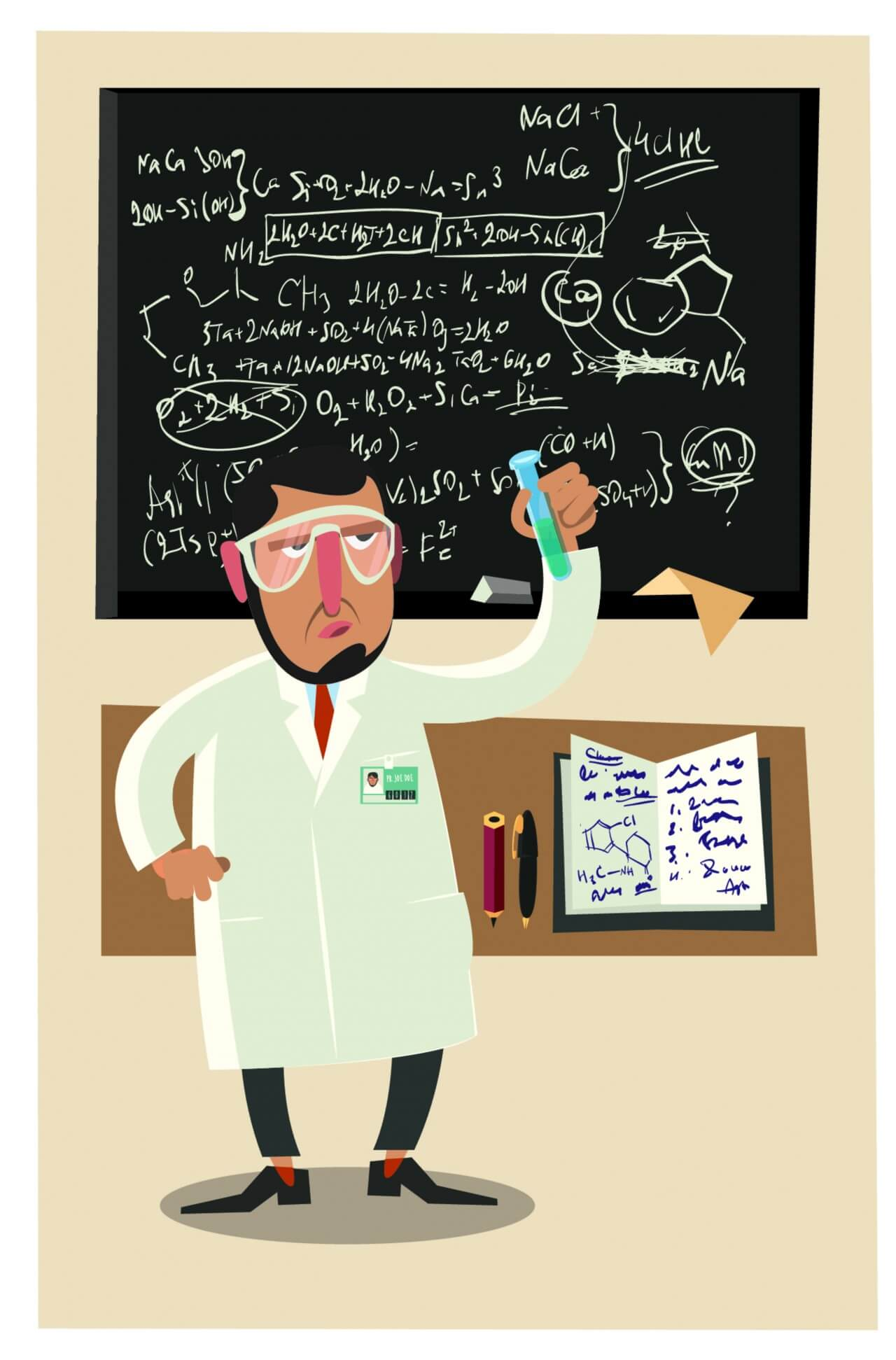 """Free vector """"Chemical character and tubes illustration vector"""""""