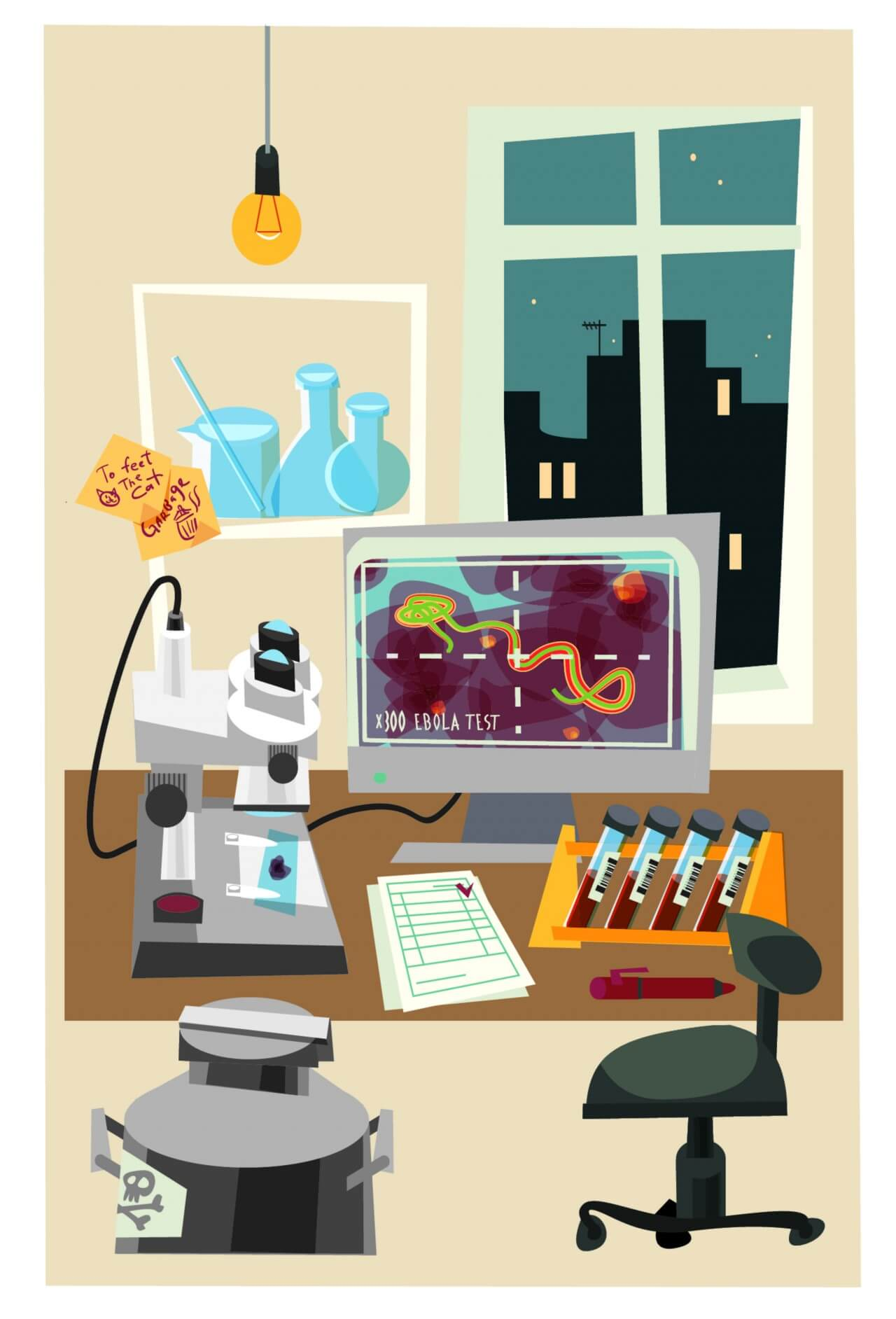 """Free vector """"Chemical objects and tubes illustration vector"""""""