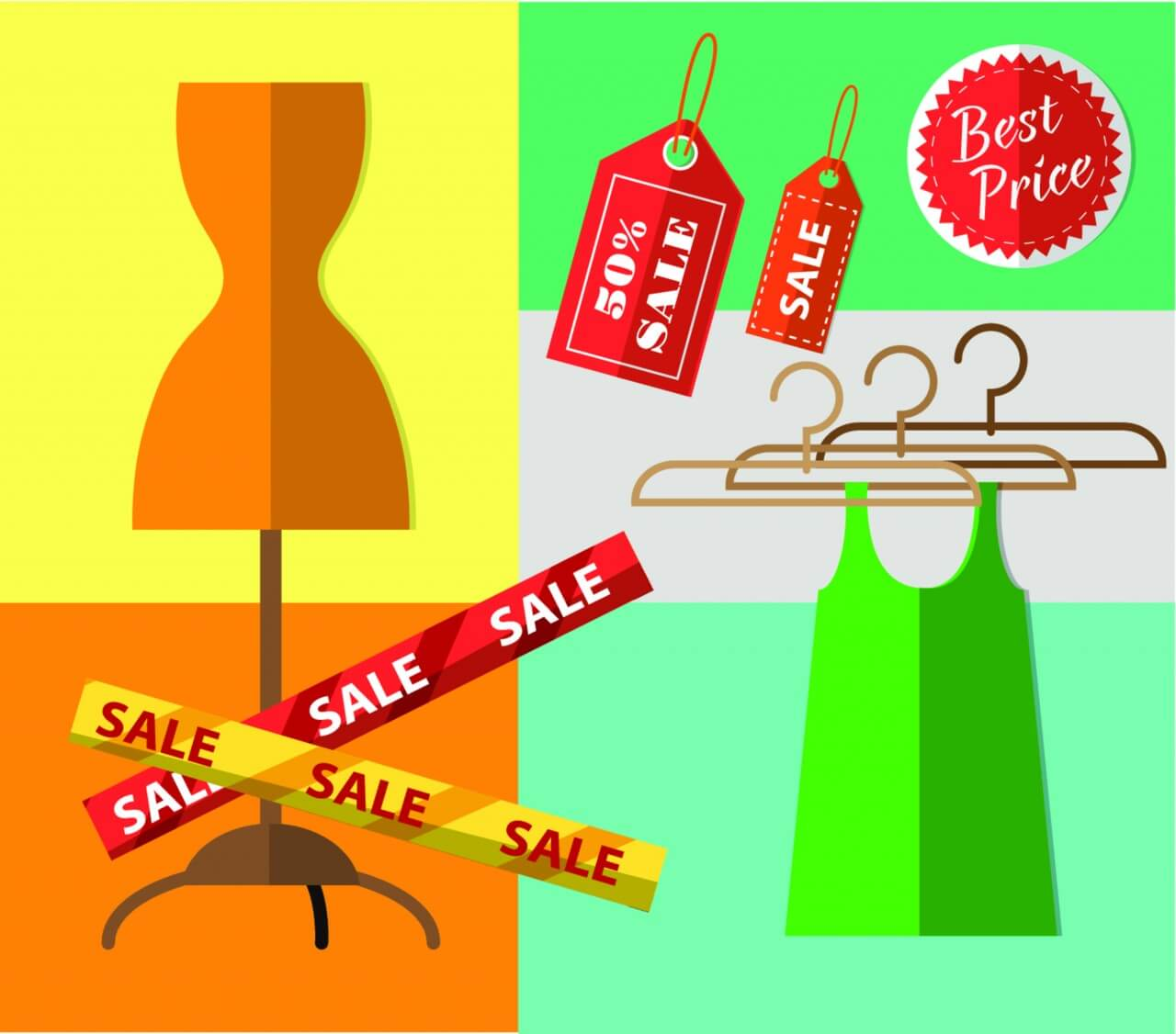 "Free vector ""Shopping objects illustration for design"""