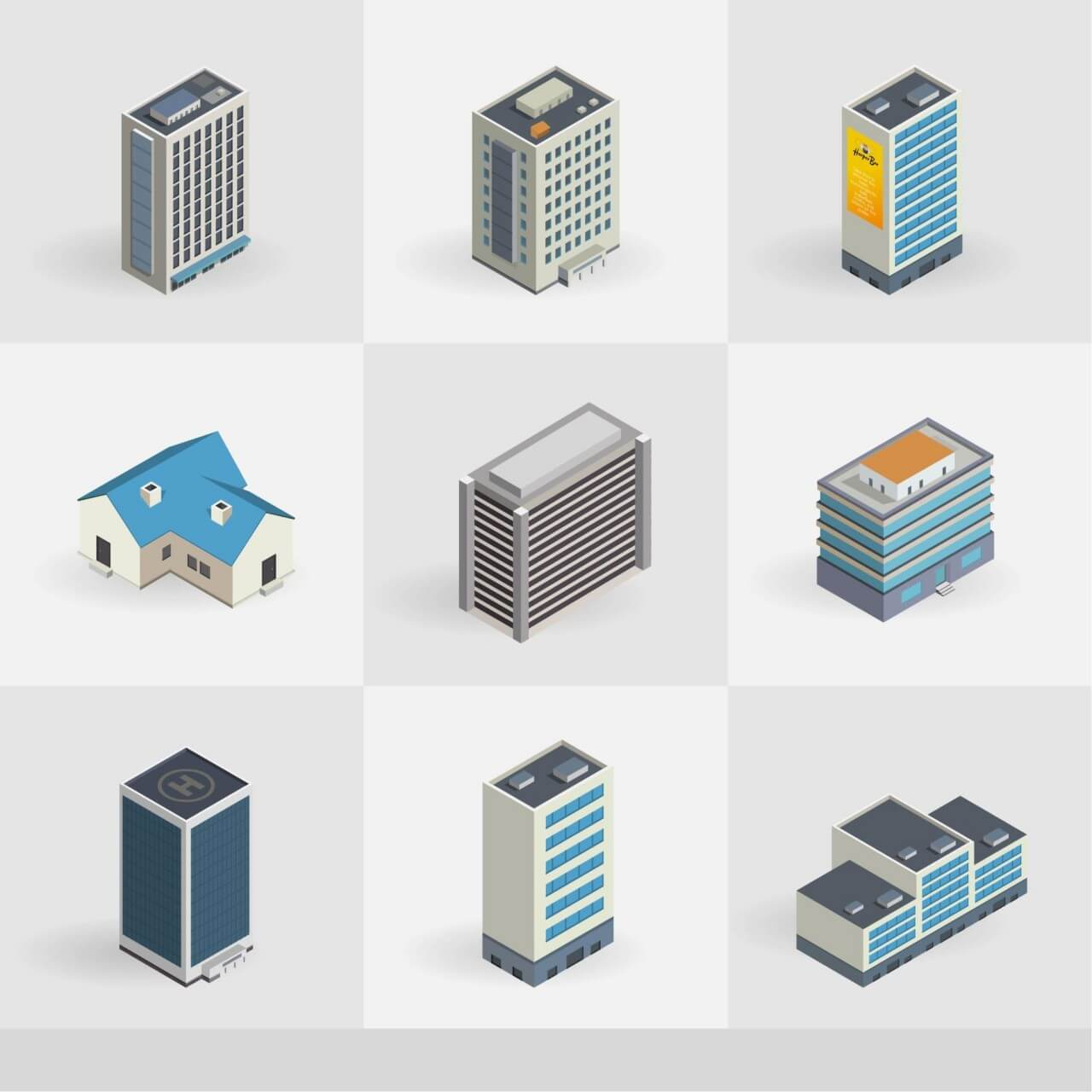 "Free vector ""Isometric vector buildings icons"""