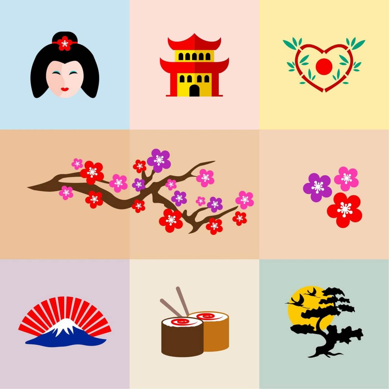 "Free vector ""Set of Japanese Icons"""