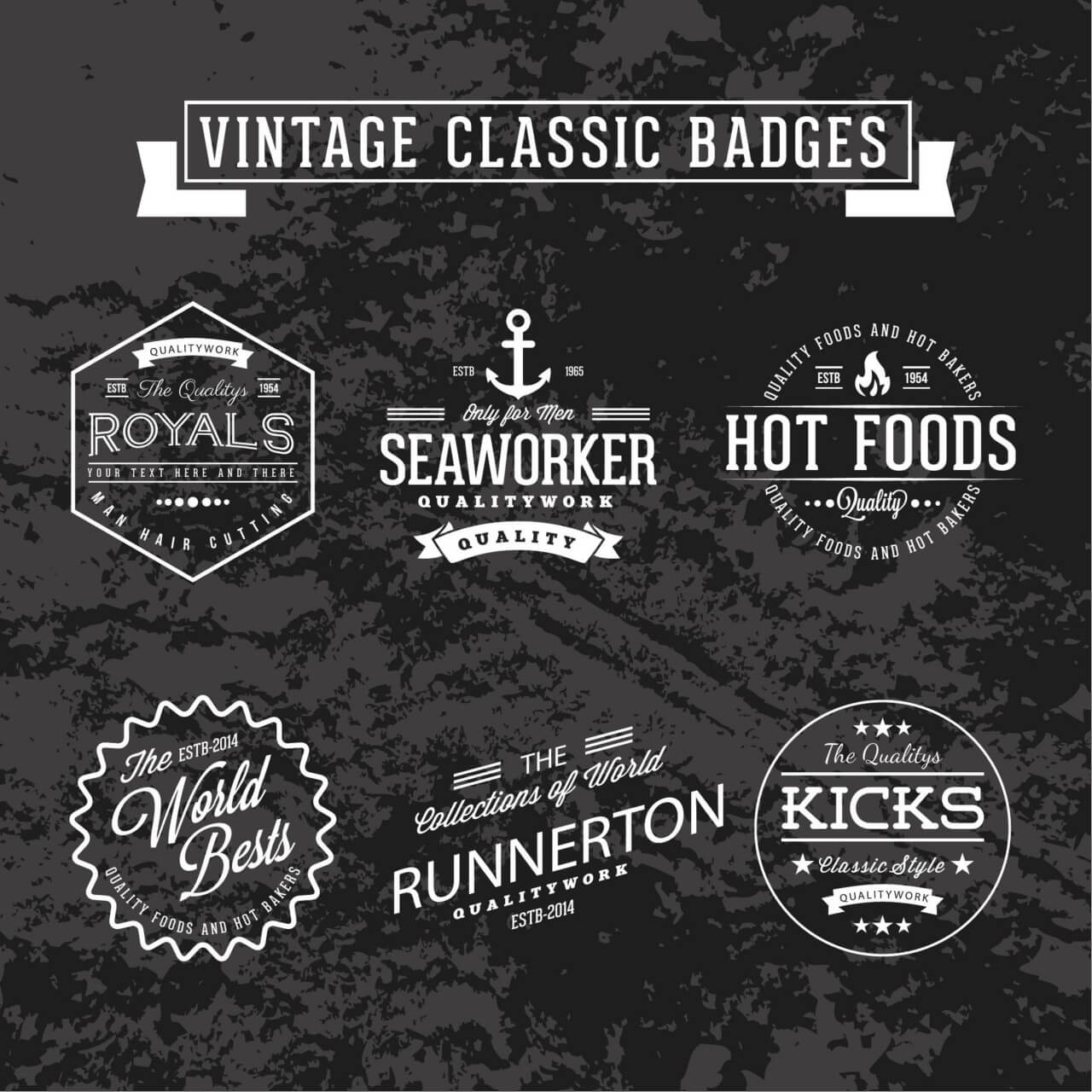 "Free vector ""Set of Vintage Badges"""
