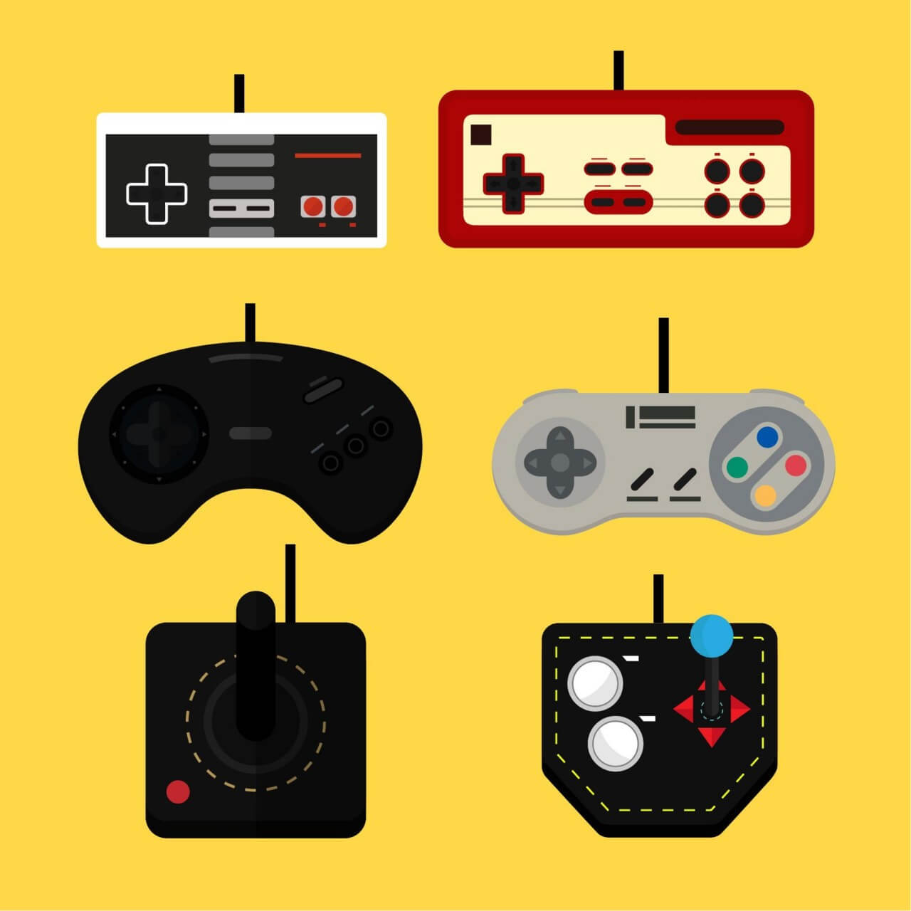 """Free vector """"Old Game Controllers"""""""