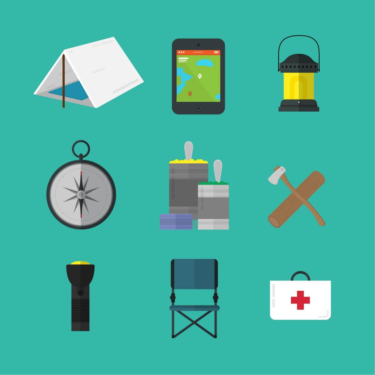"Free vector ""Camping tools icons"""