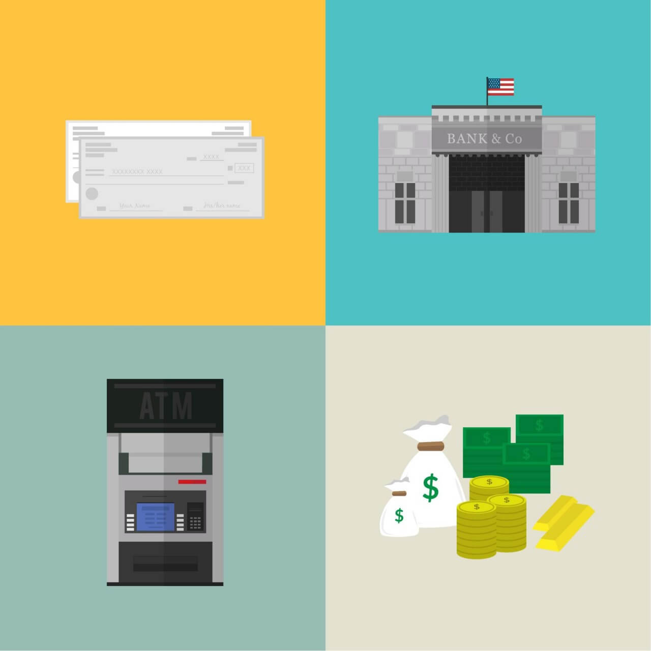 """Free vector """"Bank and financial icons"""""""