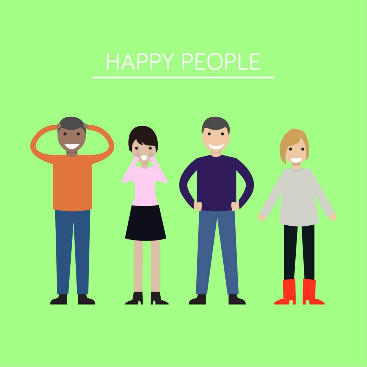 """Free vector """"Group of people looking happy and smiling"""""""