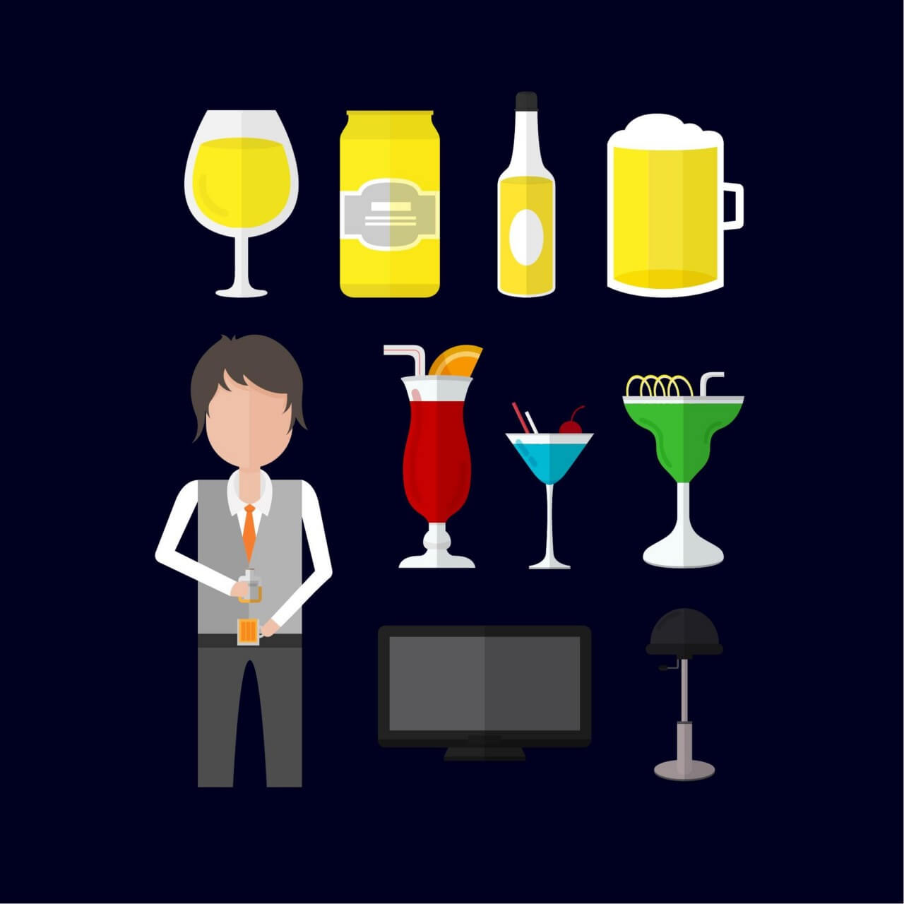"""Free vector """"Icons for bartender"""""""