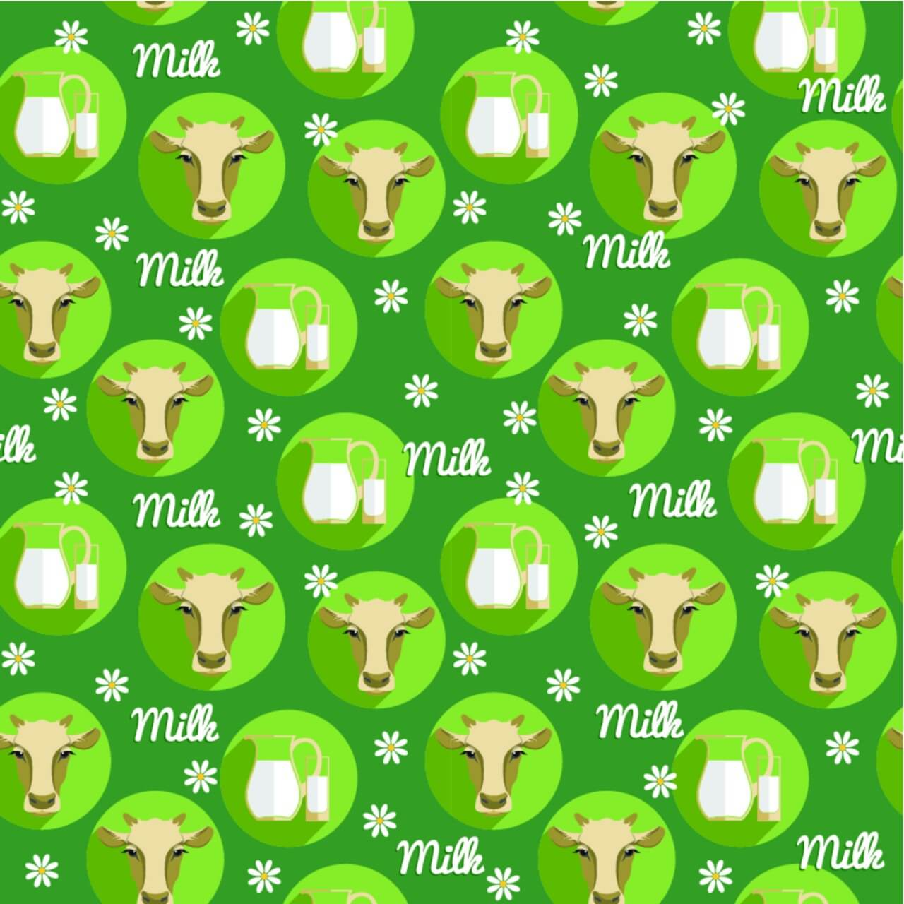 """Free vector """"Vector flat design illustration of cow. Seamless pattern"""""""