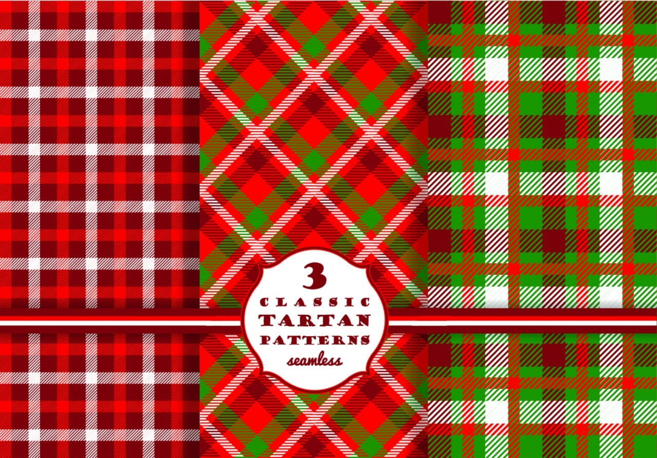 "Free vector ""Set of tartan seamless pattern """