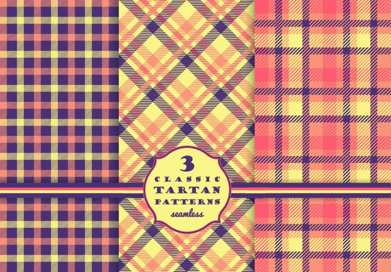 "Free vector ""Set of tartan seamless pattern """