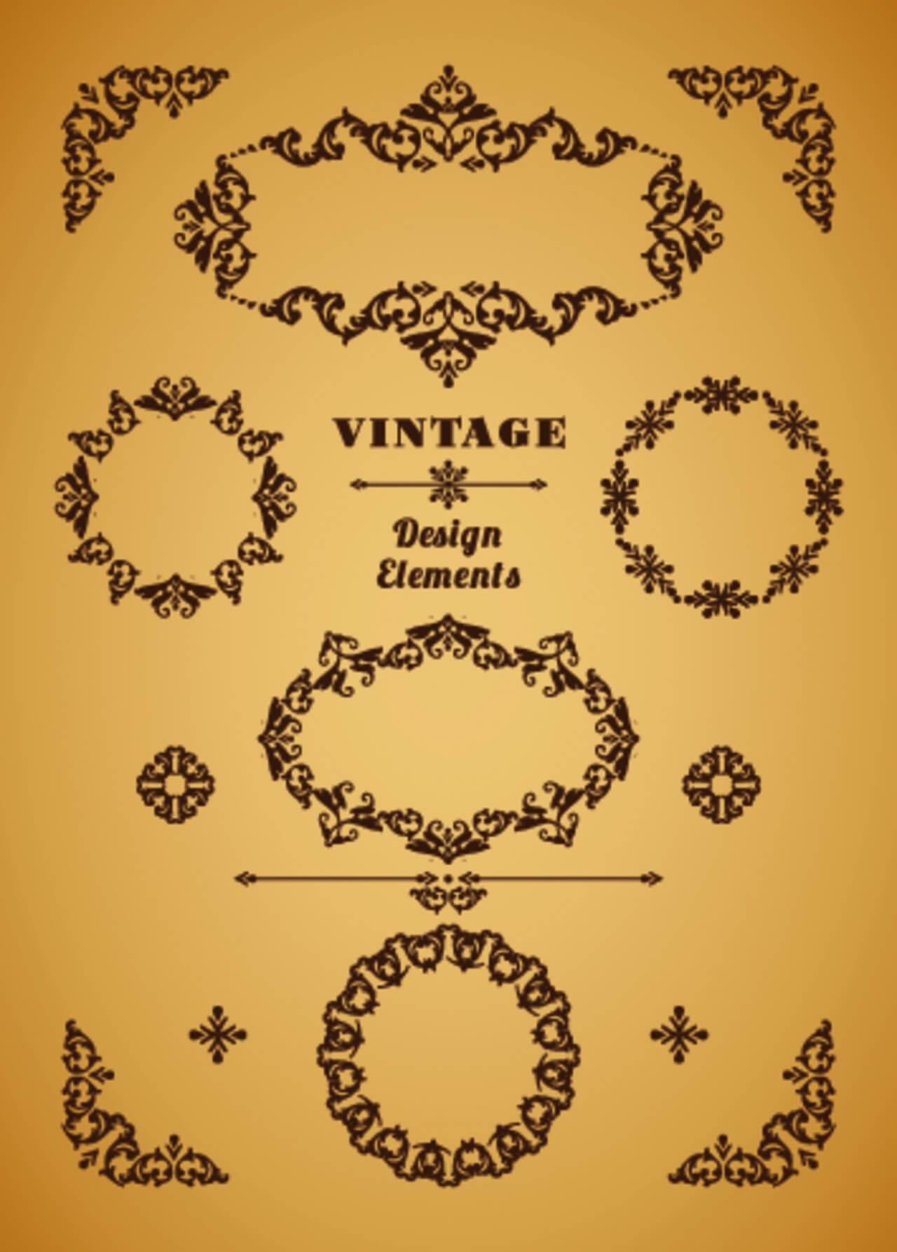 "Free vector ""Set of Retro Vintage Badges, Frames, Labels and Borders. Design elements. """